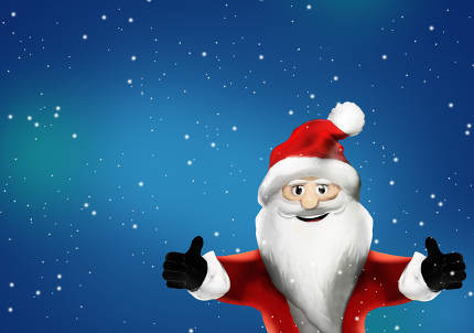 free download: Santa Claus shows two thumbs up because he likes it 3d rendering