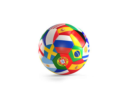 free download: soccer ball with flags 3d rendering