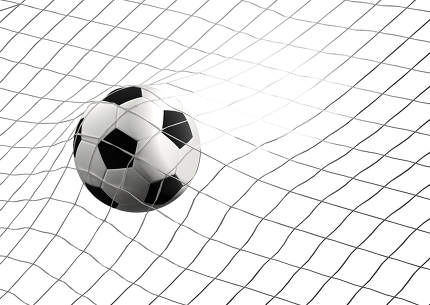 free download: soccer goal with soccer ball at soccer net 3d illustration