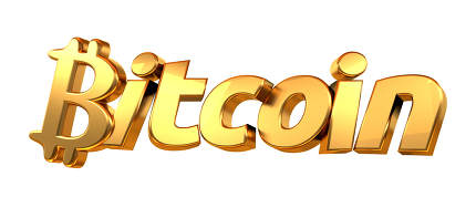 golden 3d rendering Bitcoin isolated bold letters