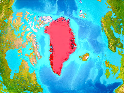 Greenland in red on Earth