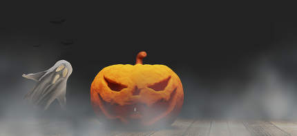Halloween background 3d-illustration Halloween pumpkin and ghost