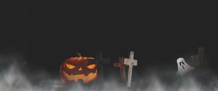 Halloween pumpkin graveyard with fog and ghost dark background 3