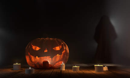 halloween pumpkin with ghost at wood planks with candle lights 3