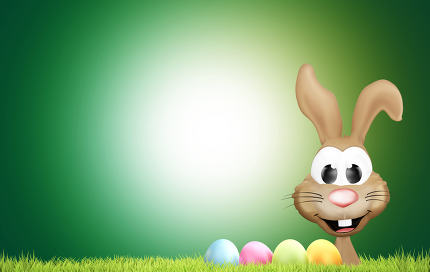happy Easter bunny with Easter eggs and green grass 3d rendering