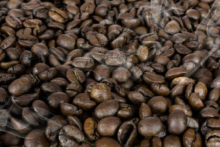 Hot coffee beans texture