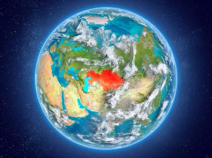 Kazakhstan on planet Earth in space