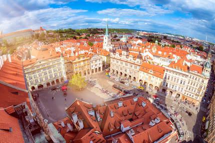 Lesser Town Square from Church of Saint Nicolas. Prague, Czech R