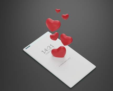 love hearts cellphone mobile phone 3d-illustration