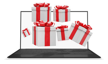 Many presents with ribbon flying out of a computer screen 3d-illustration