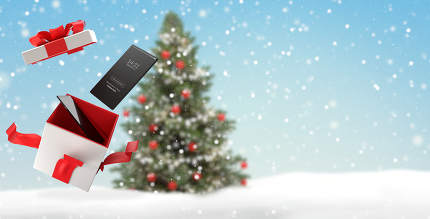 mobile phone christmas background with open surprise box 3d-illu