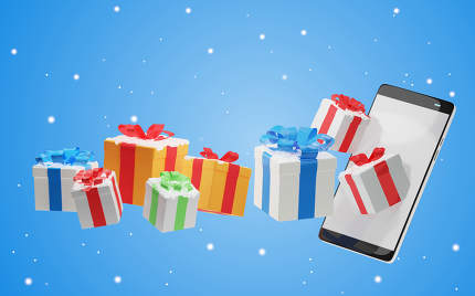 mobile phone christmas presents as mobile shopping concept for c