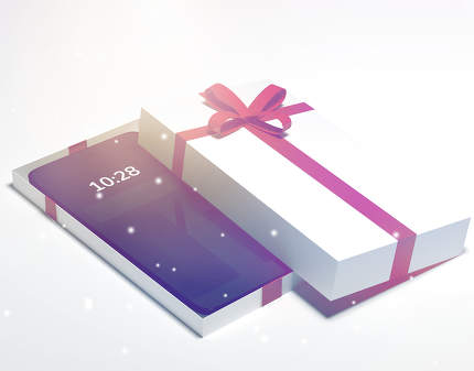 mobile phone smartphone in christmas gift box with red bow for c