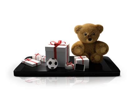 mobile phone with gifts teddy bear with soccer ball and mobile p