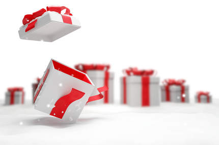open christmas surprise present with snow 3d illustration