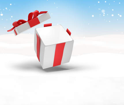 opened christmas present surprise. Christmas background 3d-illus