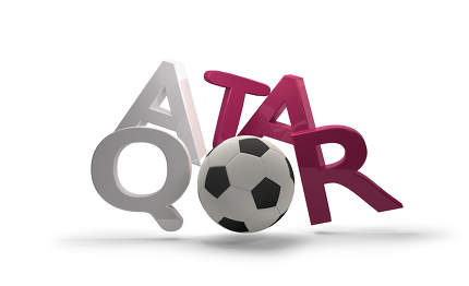 Qatar soccer football 3d rendering symbol with soccer ball