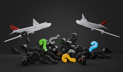 question marks airplanes 3d-illustration