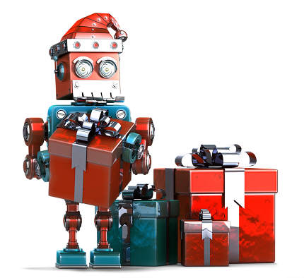 Retro Santa Robot with gift boxes. Christmas concept. Isolated, contains clipping path