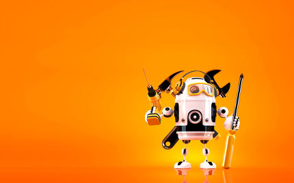 Robot holding tools. Technology concept. Contains clipping path