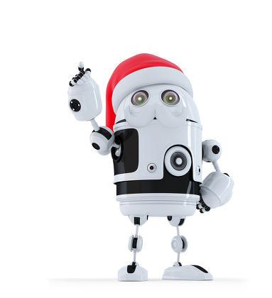 Robot Santa pointing up