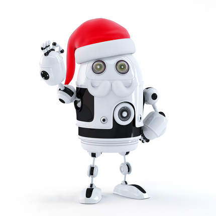Robot Santa showing OK sign. Technology concept