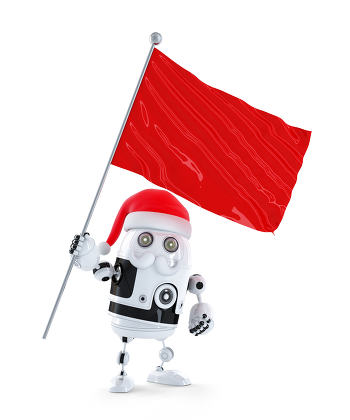 Robot Santa with red flag