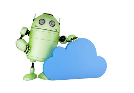 Robot with cloud symbol. Cloud computing concept