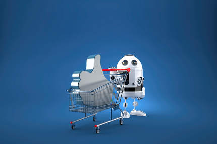 Robot with shopping cart. Contains clipping path. 3d illustration