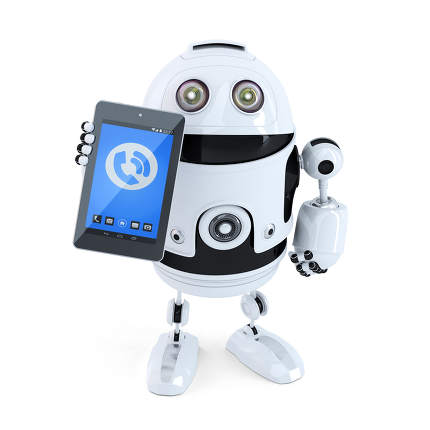 Robotic holding ringing mobile phone or tablet