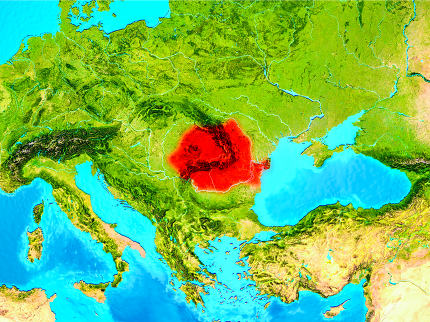 Romania in red on Earth