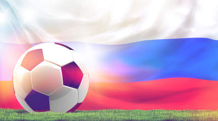 Russia design soccer football ball 3d rendering with green grass