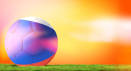 Russia russian ball soccer football 3d rendering bright orange b