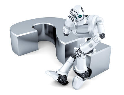 Sad thoughtful robot sitting on question mark. Isolated. Contains clipping path