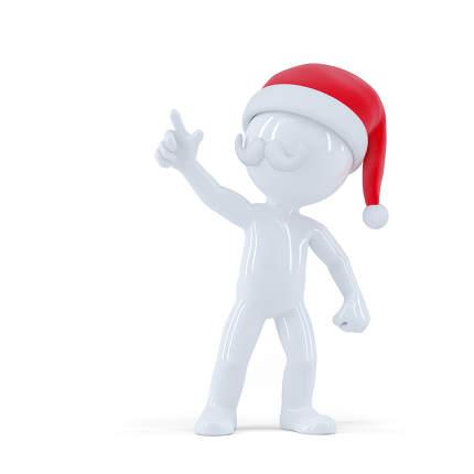 Santa Claus pointing pointing at something