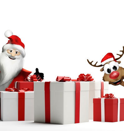 Santa Claus Reindeer surprise products gift boxes 3d-illustratio