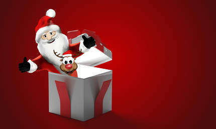 Santa Claus with Reindeer out of the box surprise present 3d-ill