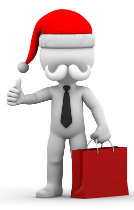 Santa Claus with shopping bag