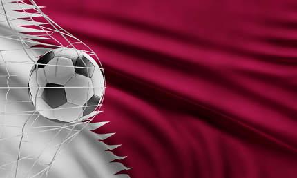 soccer ball front of flag of Qatar 3d-illustration