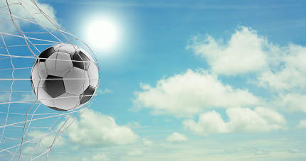 soccer ball soccer goal 3d-illustration at blue sky with clouds