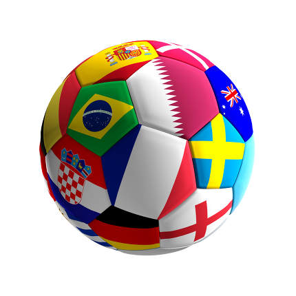 soccer ball with flags design Qatar 3d-illustration