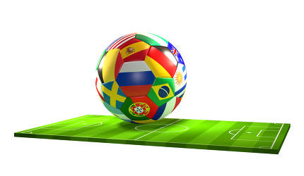 soccer ball with national flags 3d rendering over soccer field i