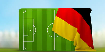 soccer field 3D illustration with flag of Germany