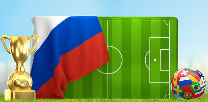 soccer field 3D illustration with soccer ball and trophy and fla