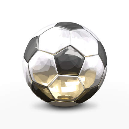 soccer football ball 3d rendering in silver