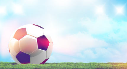 soccer football ball 3d rendering with green grass meadow blades
