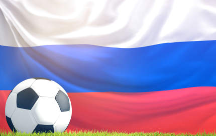 soccer football ball flag of Russia 3d rendering