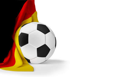 soccer football ball with flag of Germany 3d-illustration