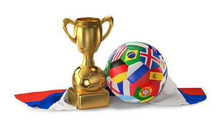 soccer trophy with soccer ball flags design and flag of Russia 3