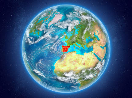 Spain on planet Earth in space